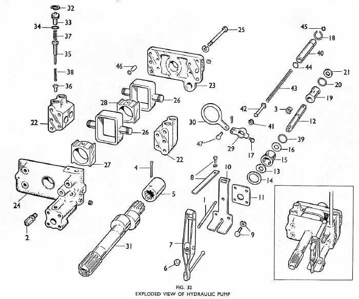 Massey Ferguson 135 Hydraulic Pump Parts Diagram